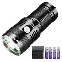 Supfire M6 Strong Light Water-Proof Torch 5 Modes Super Bright 2300 Lumens Cree LEDx3 with 4*18650 Batteries and Charger
