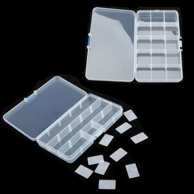 15 Slots Clear  Storage Box Jewerly Nail Art Tips Rhinestone Small Beads Case Organizer Storage Box Container  Jewerly Box