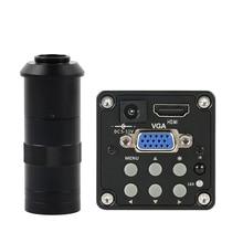 14MP 1080 1080pデジタルビデオhdmi vga顕微鏡カメラ + 100X/180X/300X cマウントレンズpcbはんだリペア