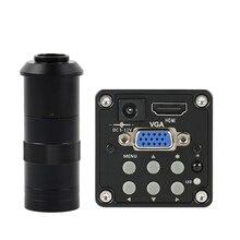 14MP 1080P 디지털 비디오 HDMI VGA 현미경 카메라 + 100X/180X/300X C 마운트 렌즈 PCB 납땜 수리