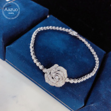 Aazuo Real 18K White Gold Real Diamonds Fine Jewelry Rose Flower Bracelet gifted
