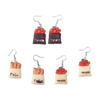1 par creativo lindo Mini pendientes de hamburguesa de tomate minimalismo diseño de dibujos animados para mujer ganchos de oreja colgantes joyería regalo