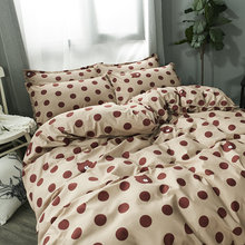 2019 New spring Bedding Brown dots and bear pattern activity printed duvet cover bed linen set flat sheet pillowcase(China)