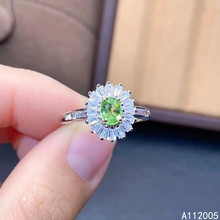 KJJEAXCMY fine jewelry 925 sterling silver inlaid natural Tsavorite new Female ring trendy Support Detection