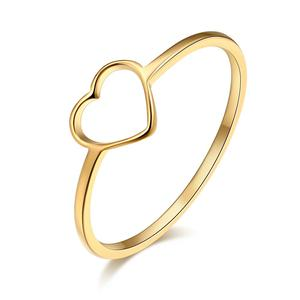 CACANA Stainless Steel Luckyoverflow Best Friend New Fashion Gold Color Heart Shaped Wedding Rings for Woman Jewelry Gift R411
