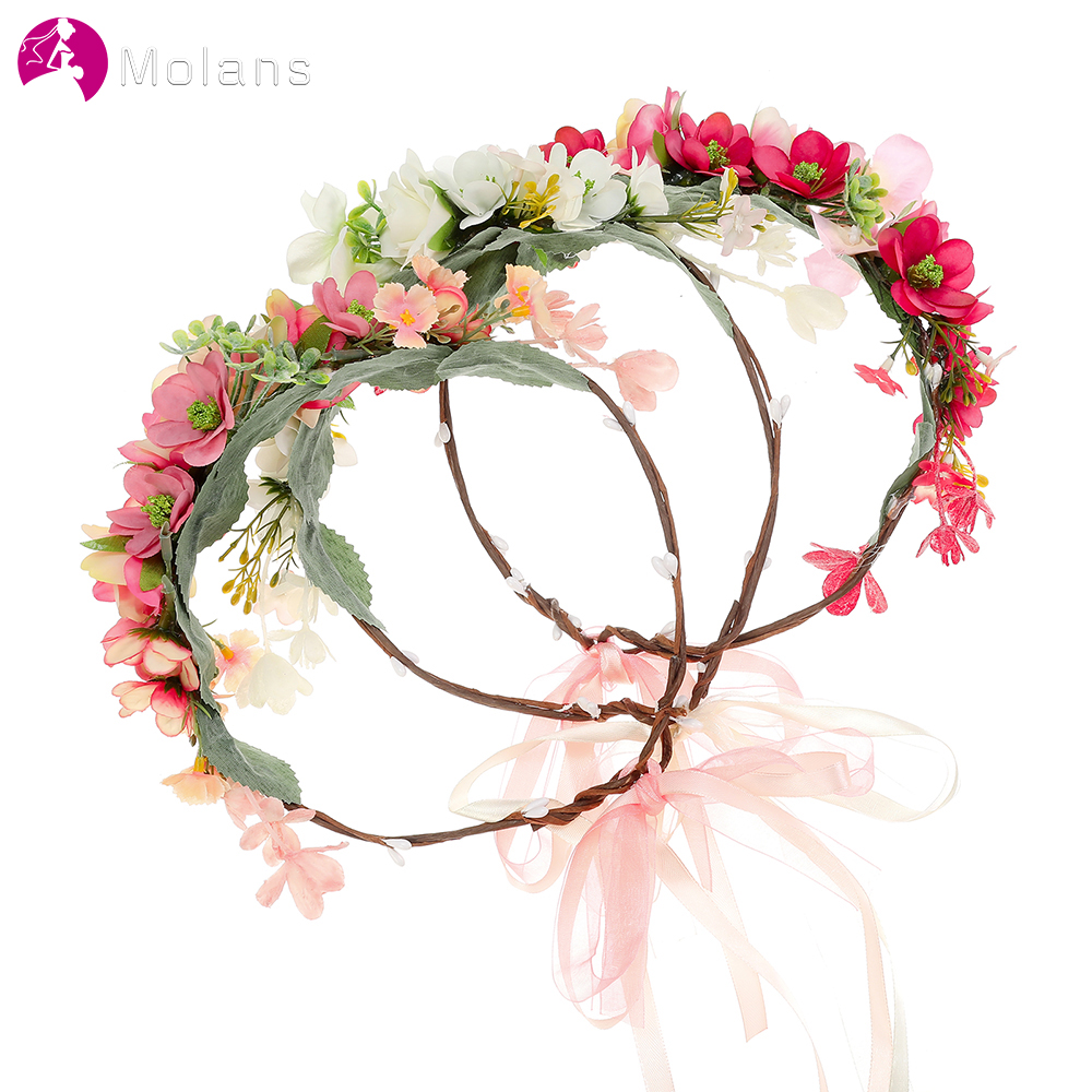 MOLANS Handmade Artificial Flower Crown For Bride Bridesmaid Wedding Art Photography Cute Romantic Hair Accessories Headband