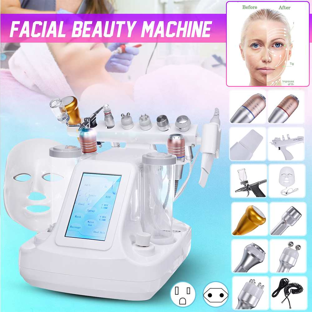 12 IN 1 Oxygen & Water Jet Peel Hydrafacial Machine Photon Hydra Dermabrasion RF Bio-lifting Spa Microdermabrasion Facial Device