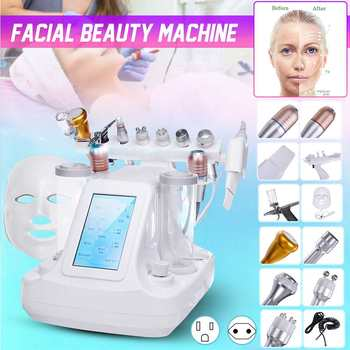 12 IN 1 Oxygen & Water Jet Peel Hydrafacial Machine Photon Hydra Dermabrasion RF Bio-lifting Spa Microdermabrasion Facial Device 11 in 1multi function pdt hydra beauty equipment hydra microdermabrasion oxygen facial machine skin rejuvenation exfoliators