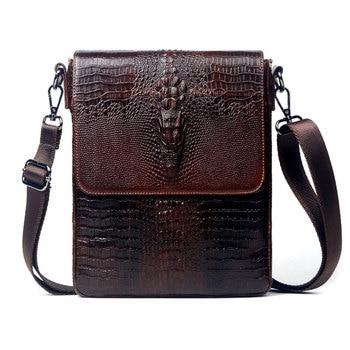 Fashion Men Genuine Leather Messenger Bag Male Crocodile Real Shoulder Mens Travel Crossbody for Tablet Handbag