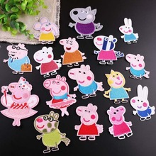 50pcs/lot Round Embroidery Patches Cute Animal Pigs Cartoon Clothing Accessories Heat Transfer Badge Iron Clothes