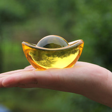Crystal Paperweight Fengshui Ornaments Figurines Glass-Crafts Miniatures Gold-Ingot Home-Decor