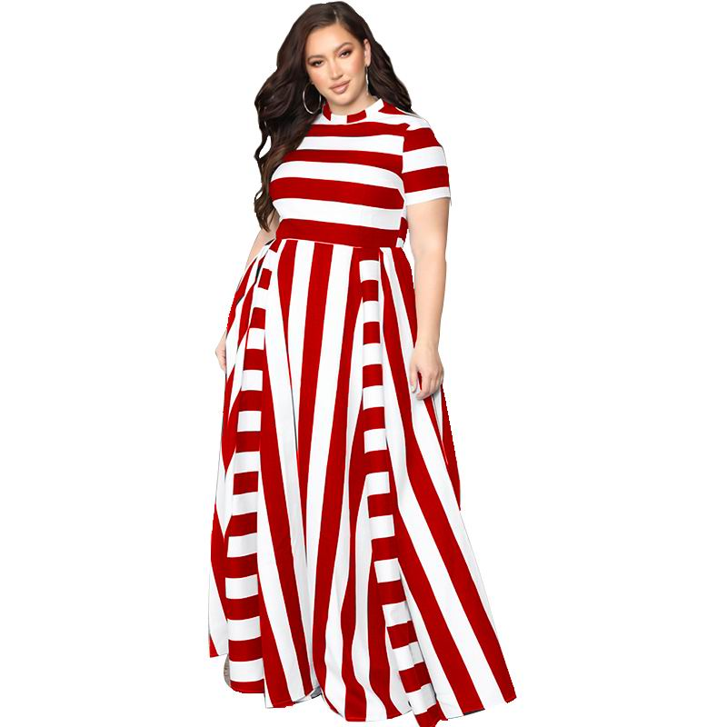 Oversized Women Maxi Short Sleeves Floor Length Casual Dress Plus Size Ladies Summer Stripes Party Tall Beauty Vestido 6