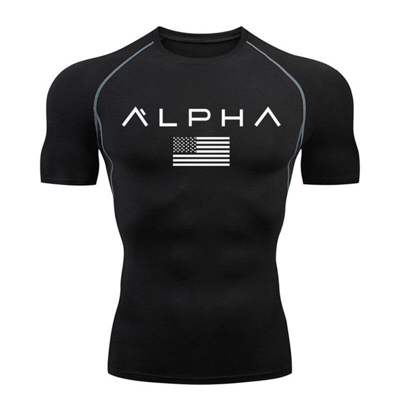 running - Mens Running T shirt Brand GYM Jogging Sports Shirt Compression Shirts Short Sleeve Rashguard Tight Sportswear Men Training Tee