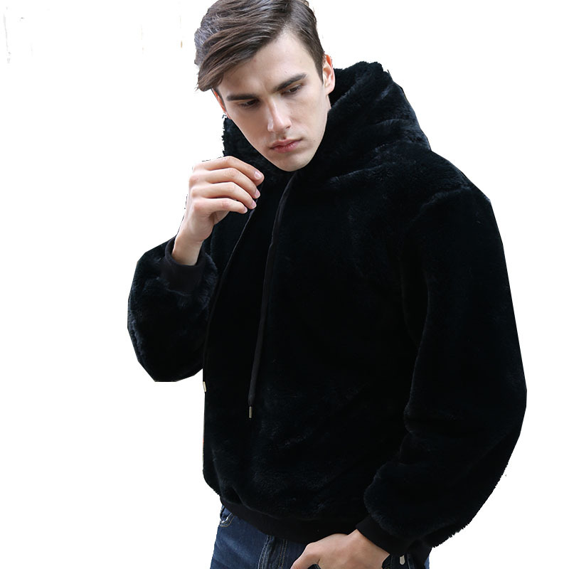 Fashion Faux Fur Fleece Fluffy Hoodie Men Casual Black Plush Hooded Sweatshirts Winter Long Sleeve Hoodies Warm Thicken Coats