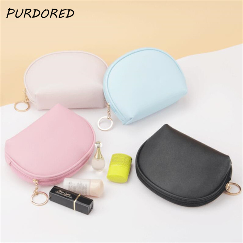 PURDORED 1 Pc Women Shell Makeup Bag Leather Waterproof Cosmetic Bag For Travelling Makeup Organizer Solid Color Make Up Case