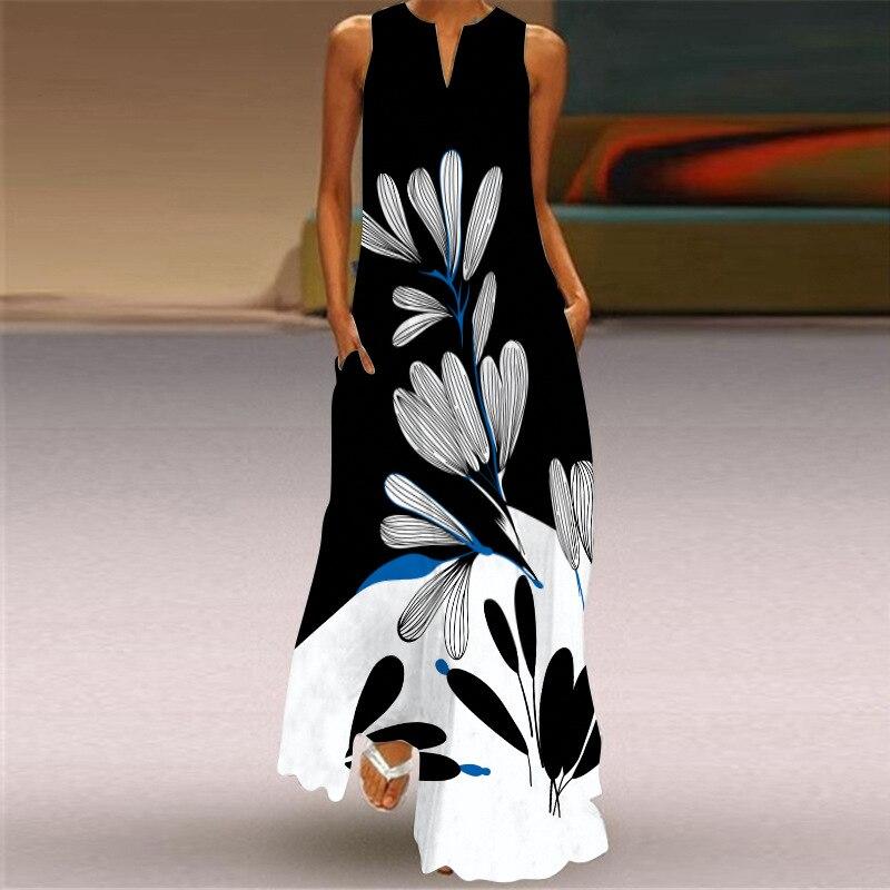 New Fashion Print Summer Dress Casual  Sexy Boho Beach Dresses Women Party Dress V-neck Sleeveless Pocket Plus Size Long Dress 4
