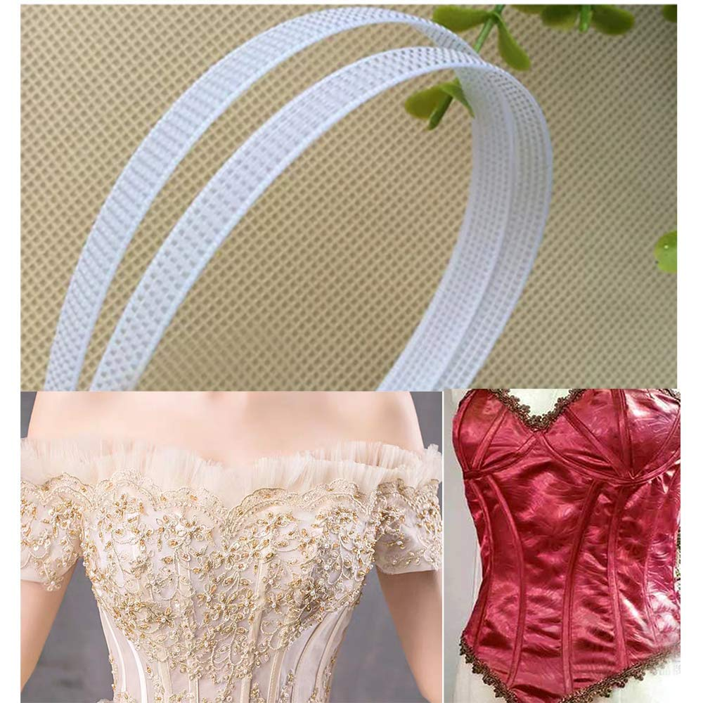 Bridal Gowns 50 Yards Polyester Boning for Sewing 4mm, White Nursing Caps Sew-Through Low Density Boning for Corsets