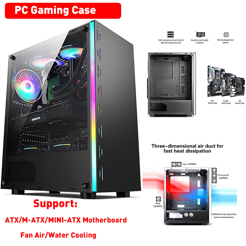 PC Computer Gaming Case Transparent Panel Support ATX/M-ATX/MINI-ATX Motherboard Air/Water Cooling Fan HDD/SSD Desktop Chassis