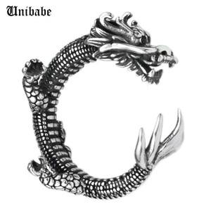 Image 1 - Prata pura esterlina 925 prata retro dragão abertura ajustável s925 anel (hy)