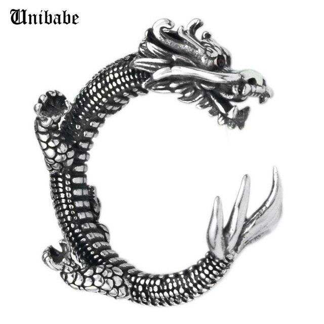 Prata pura esterlina 925 prata retro dragão abertura ajustável s925 anel (hy)