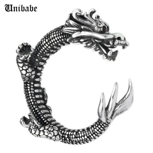 Image 1 - Pure Silver Sterling 925 Silver Retro Dragon Opening Adjustable S925 Ring (HY)