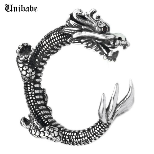 Pure Silver Sterling 925 Silver Retro Dragon Opening Adjustable S925 Ring (HY)