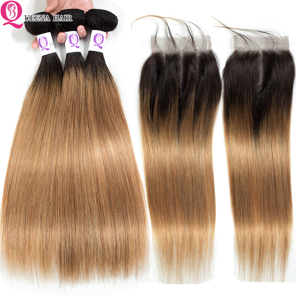 Ombre Bundles With Closure 1B/27 Blonde Ombre Straight Hair Bundles With Closure Peruvian Human Hair 3 Bundles With Closure Remy