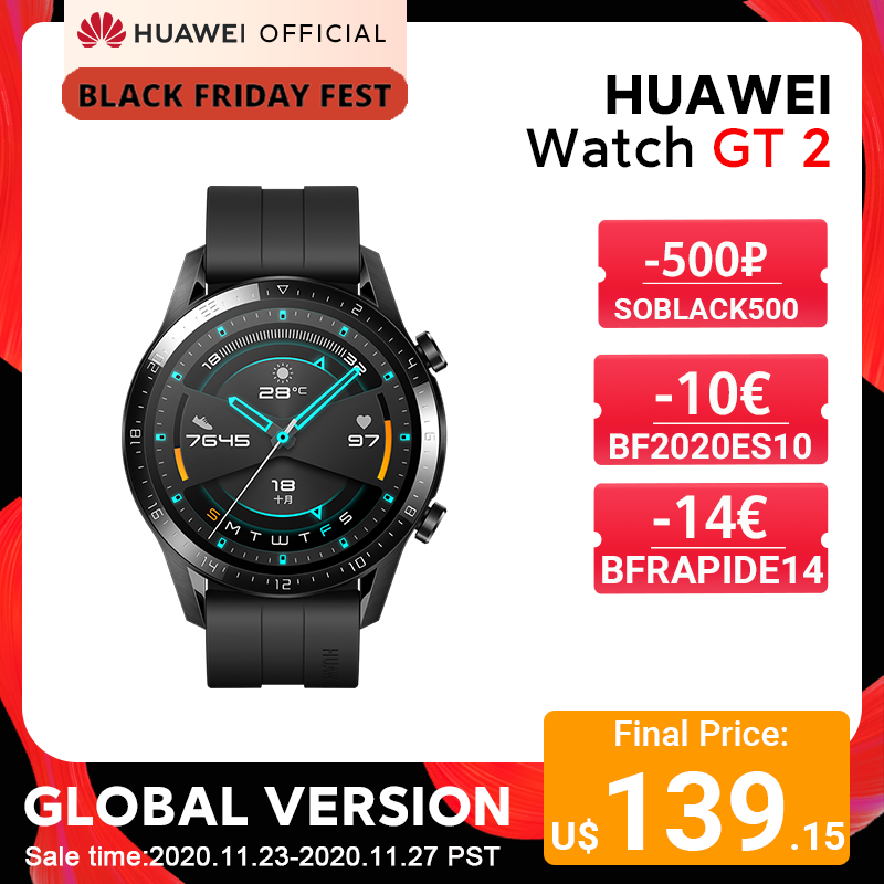 Top SaleHUAWEI Heart-Rate-Tracker GPS Smart-Call Android 14-Days-Phone Global-Version GT 2-Gt2