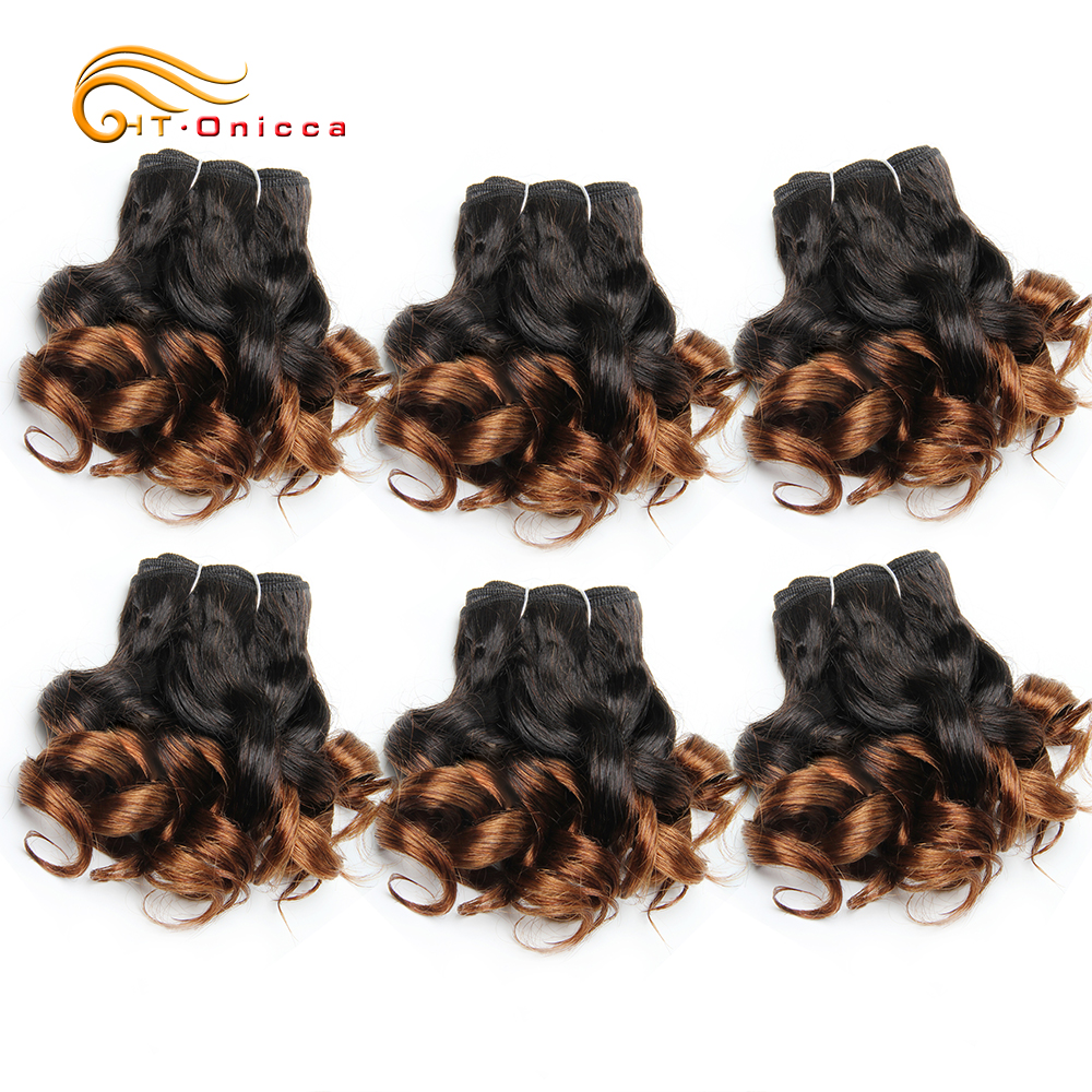 6 Pcs/Lot Curly Hair Bundles 8 Inch Ombre Brazilian Hair Weave Bundles Color 1B/2/4/30/33/99J Human Hair Extension Remy