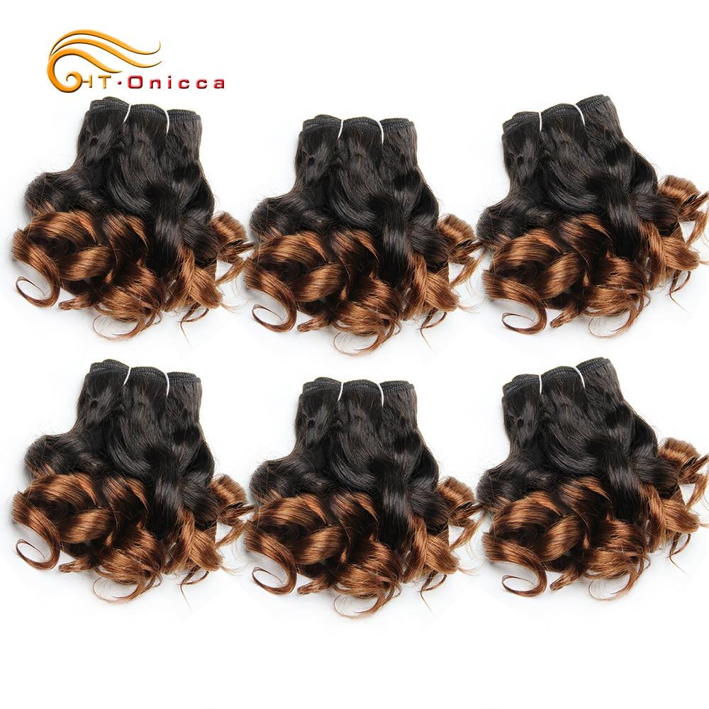 6 Pcs/Lot Curly Hair Bundles 8 Inch Ombre Brazilian Hair Weave Bundles Color 1B/2/4/30/33/99J Human Hair Extension Remy