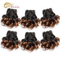 6 unids/lote Pelo Rizado mechones 8 pulgadas brasileño de Ombre extensiones de pelo ondulado mechones Color 1B/2/4/30/33/99J/27/extensión del cabello humano Remy