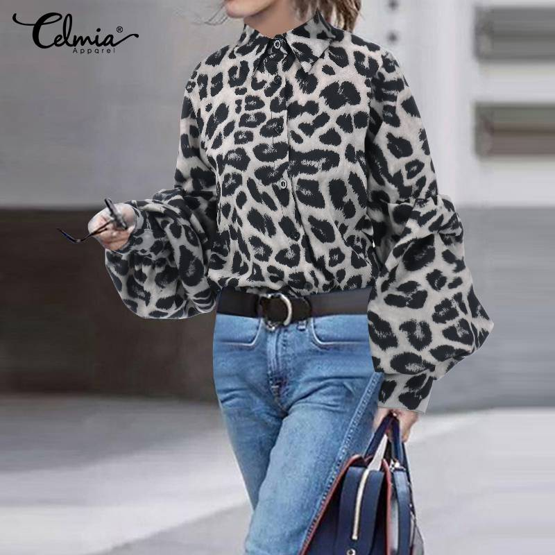 Plus Size Women Sexy Leopard Print Blouses Tunic Tops Celmia 2019 Fashion Lapel Lantern Sleeve Casual Shirts Button Down Blusas