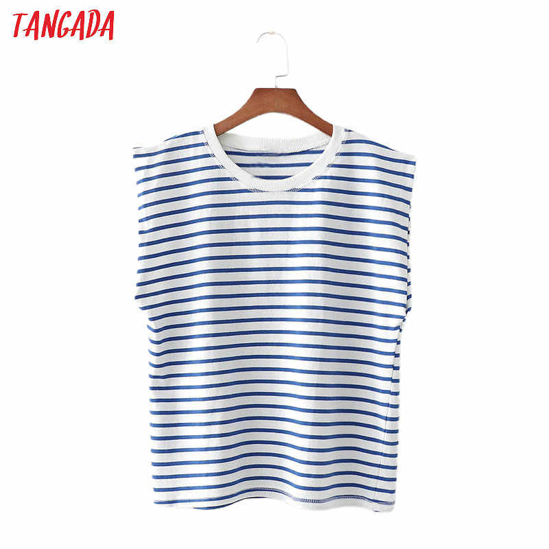 Tangada Vrouwen Vintage Gestreepte Print T-shirt Oversized Cool Korte Mouw O Neck Tees Dames Casual T-shirt Top 1D180