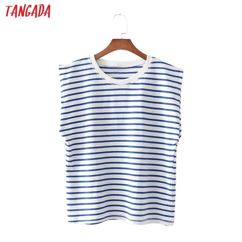 Tangada Women Vintage Striped Print T Shirt Oversized Cool Short Sleeve O Neck Tees Ladies Casual Tee Shirt Top 1D180