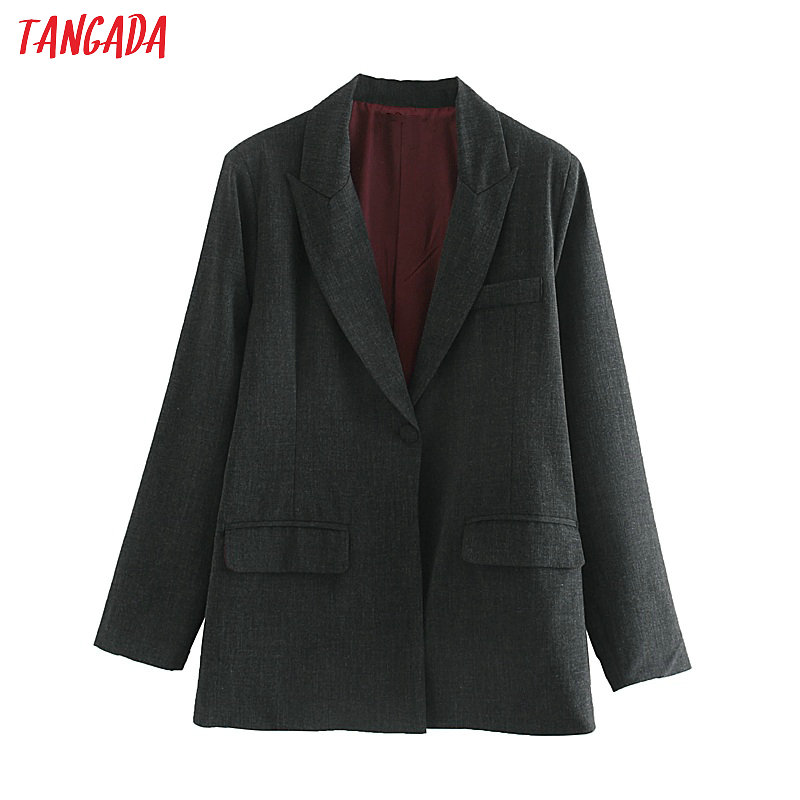 Tangada Women Elegant Solid Suit Jacket Office Ladies Vintage Blazer Pockets Work Wear Outwear JE66