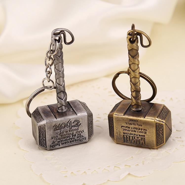 Thor Hammer Keychain Mjolnir 1:1 Dark World Ragnarok Keyring Key Chain Ring Viking Odin Norse Mythology Marvel Avenger Wholesale(China)