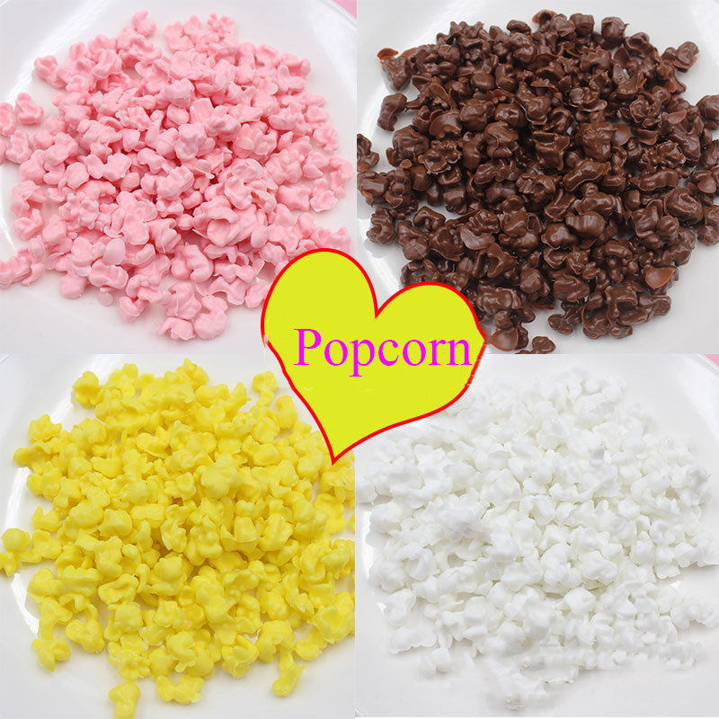 50g/lot Simulation Popcorn PVC Resin Cabochon Miniature Fake Food Play DIY Slime Filling Material Accessories Decoration Crafts