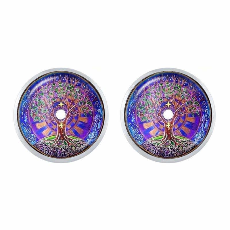 Yeni Moda Çiçek hayat Küpe Om Yoga Çakra Damızlık Kulak Mandala Moda Cam Cabochon Kubbe Kutsal Geometri Kadınlar Takı