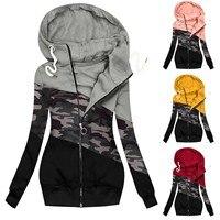 Sudaderas con capucha informales para mujer, chaqueta con estampado de camuflaje, sudadera con cremallera, abrigo Harajuku de manga larga para invierno, más vendidos