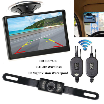 diysecur wireless 4 3 inch car reversing camera kit back up car monitor lcd display hd car rear view camera parking system Wireless Backup Camera 1 Set 5 inch TFT LCD Car Monitor Reversing Camera Wireless with Monitor Rear View Camera for car