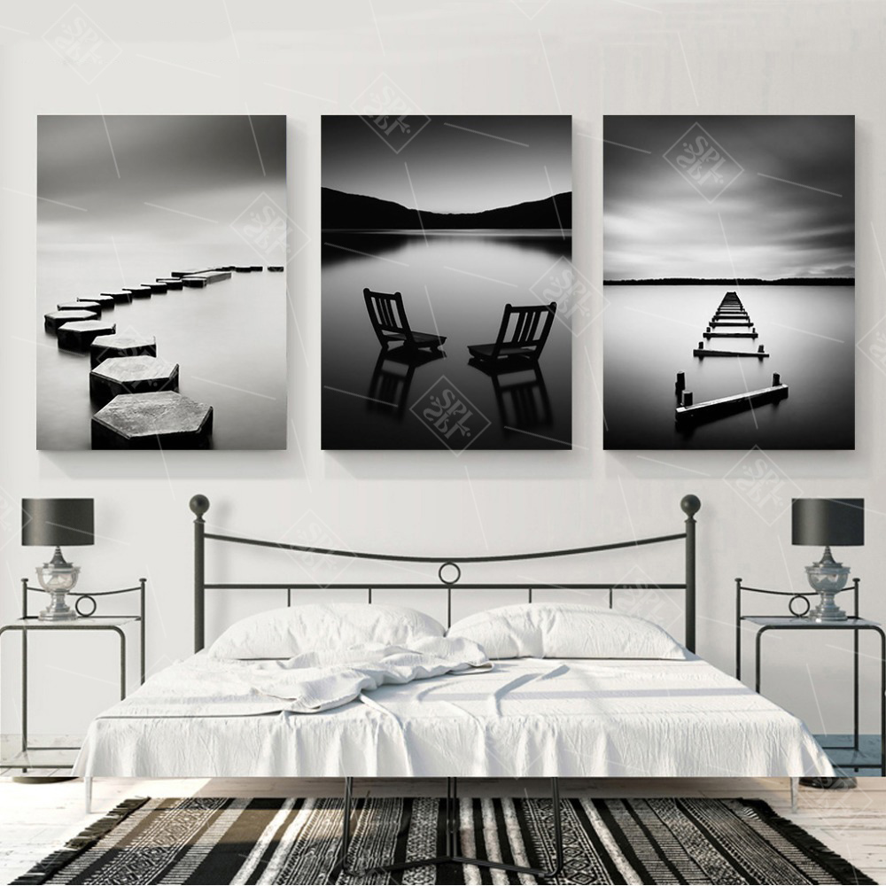Black-and-White-Landscape-Canvas-Painting-Stone-Wooden-Bridge-Posters-and-Prints-Wall-Art-Pictures-for (2)