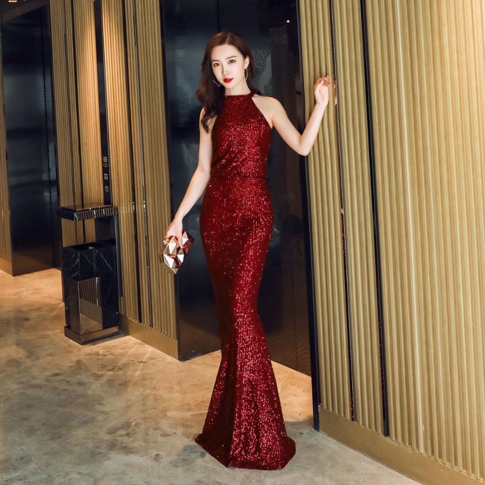 Dresses Women 2019 Party Dresses Hanging neck fishtail banquet sequin dress formal party Long dress Elegant dress Vestidos in Dresses from Women 39 s Clothing