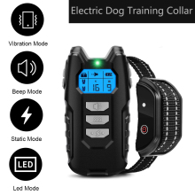 Electric Dog Training Collar With LCD Display Vibration Anti-Bark Control Rechargeable Remote  Waterproof Collar For Dogs
