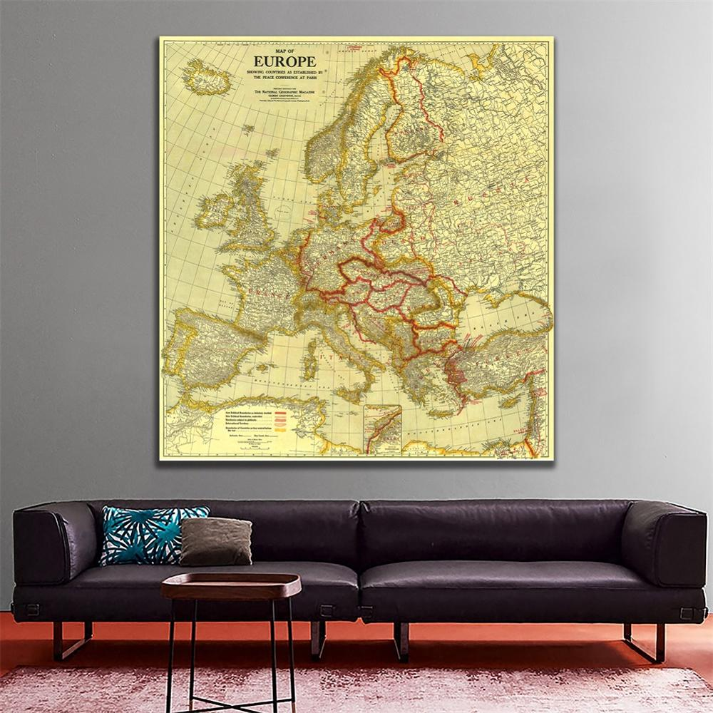36x36 Inches Non-woven Waterproof Spray Painting Maps Of Europe In1920 Peace Conference At Paris For Wall Decor Map