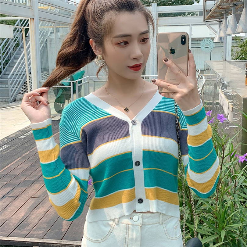 Striped Cardigan Women Ctop Top Long Sleeve Sweater V Neck Sexy Cardigan Knitting One Size Pull Femme Nouveaute 40OCT1618
