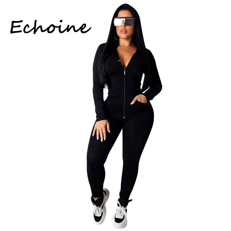 Moda com capuz duas peças conjunto jogging femme zíper superior + calças terno sportwear agasalho roupas femininas sólido 7 cores mais tamanho