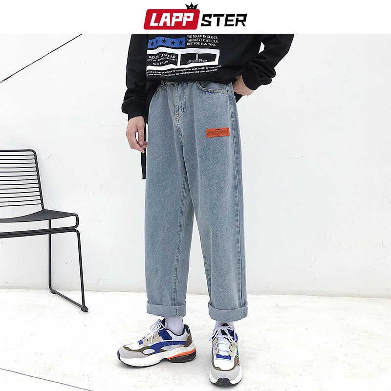 LAPPSTER Mens Koreanische Fashoins Harem Blaue Jeans Hosen 2020 Vintage Gerade Hosen Harajuku Jeans Baggy Gürtel Hohe Qualität Denim