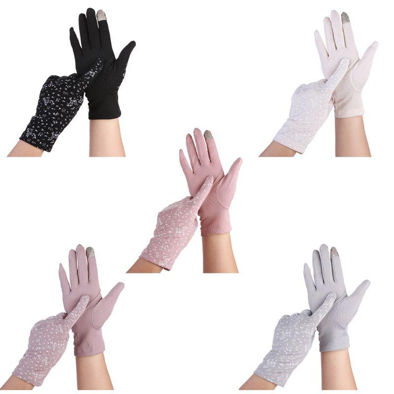 Women Summer Floral Ultra-Thin Touchscreen Gloves Non-Slip Mesh UV Sun Protection Solid Color Full Finger Driving Mitten
