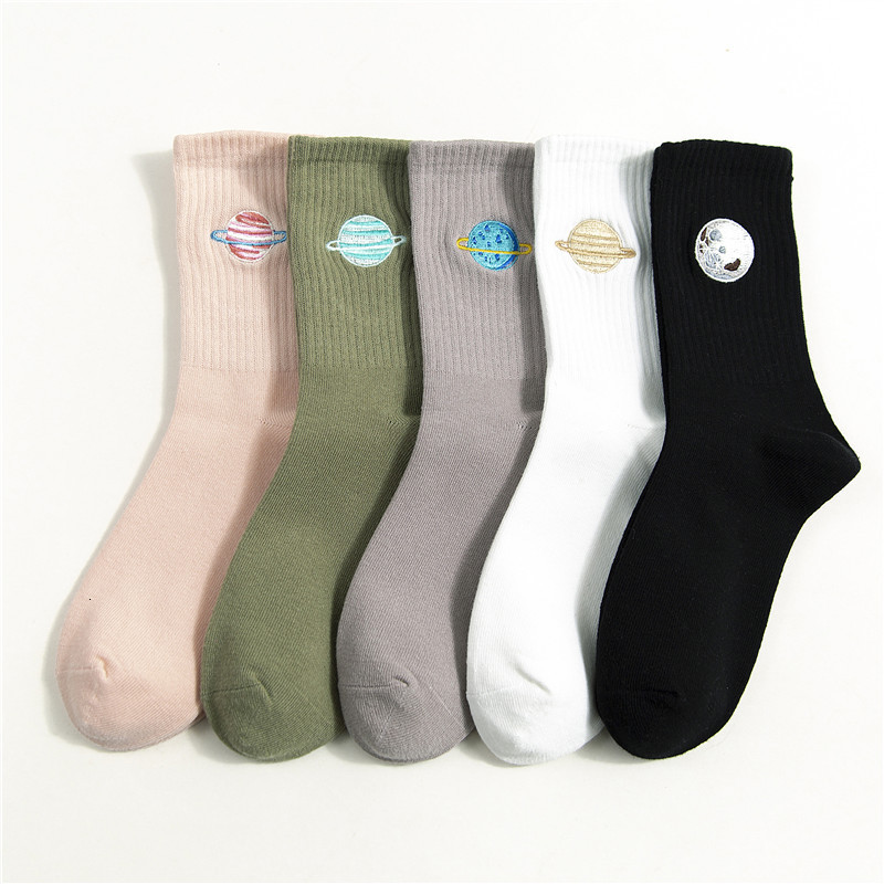 SP&CITY 5 Pairs Set Women Planet Embroidery Cotton Harajuku Socks Winter Thick Casual Heap Socks Concise Sox Keep Warm Original