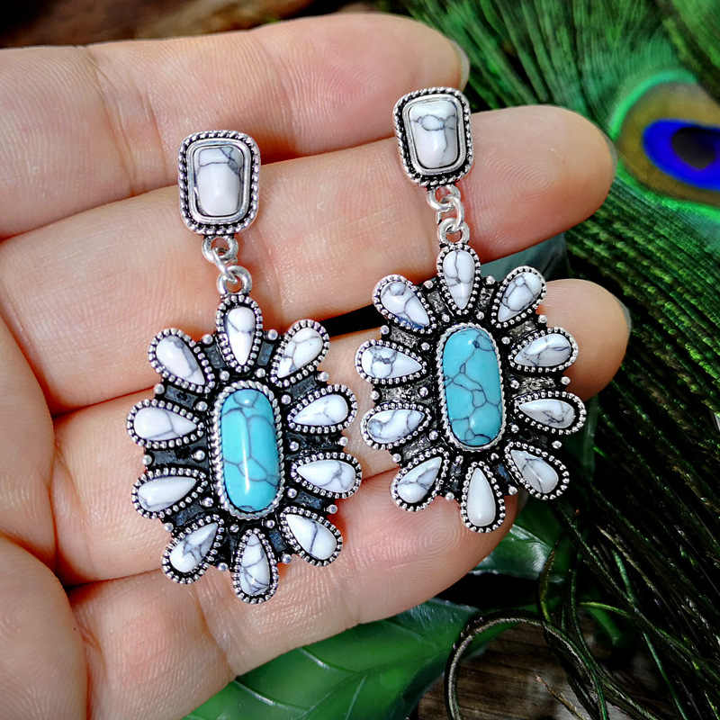 Bohemia Vintage White Water Drops Turquoises Long Drop Earrings for Women Ethnic Natural Blue Stone Dangle Earring Boho Jewelry